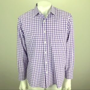 UNTUCKit Gingham Check Button Shirt Purple Medium